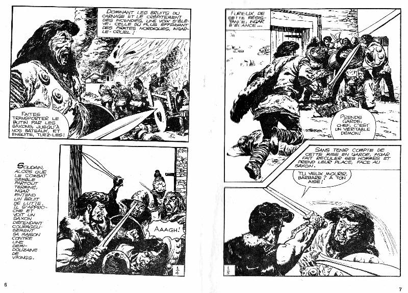 Suite de la première page et début de la deuxième du premier épisode remontée dans le poche n° 1 paru à la SFPI en juin 1963.