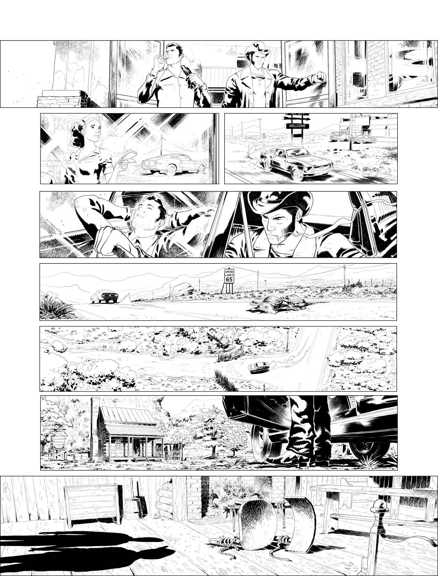 Une vision panoramique (encrage et colorisation de la planche 12)