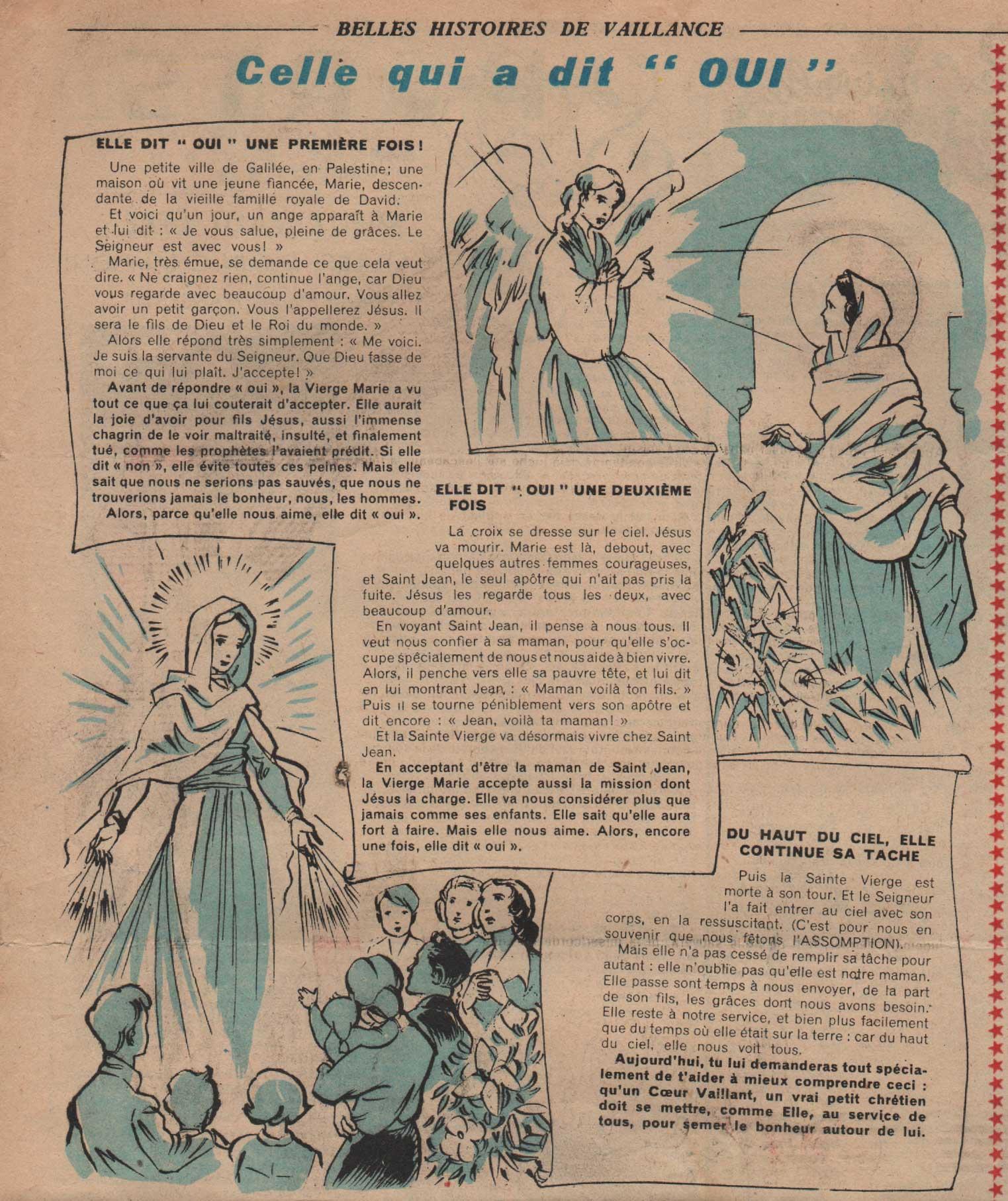 """« Celle qui a dit """"oui"""" » Coeurs vaillants » n° 33 (14/08/1949)."""