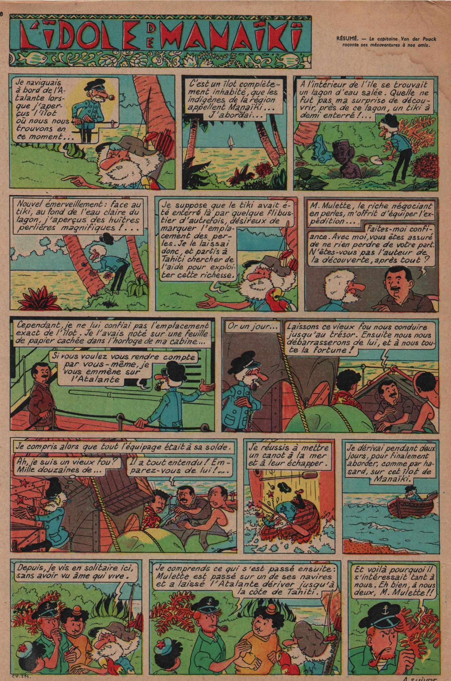 « Pompon rouge : L'Idole de Manaïki » Cœurs vaillants n° 1 (05-01-1958)