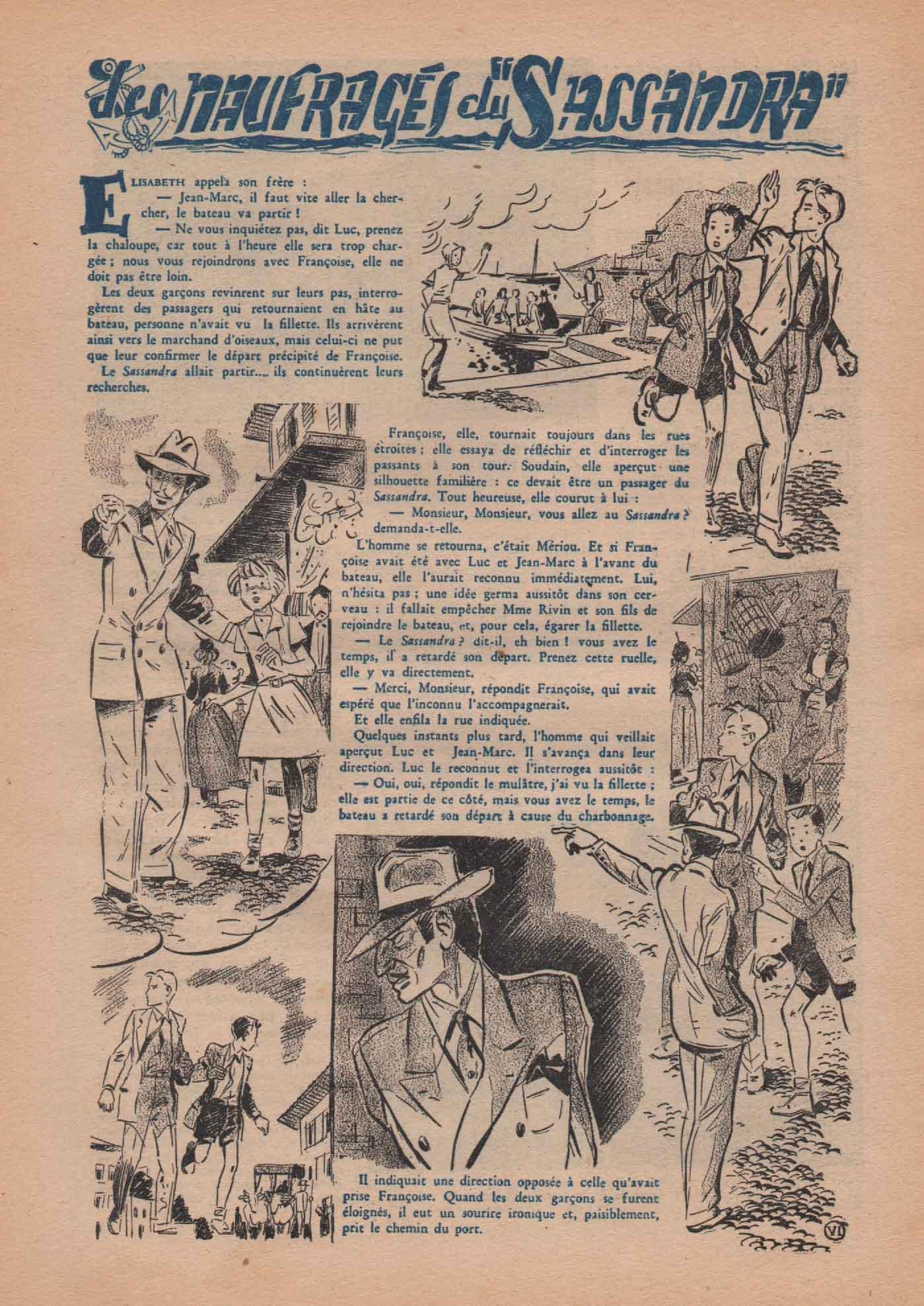 "« Les Naufragés du ""Sassandra"" » Bernadette n° 271 (10/02/1952)."