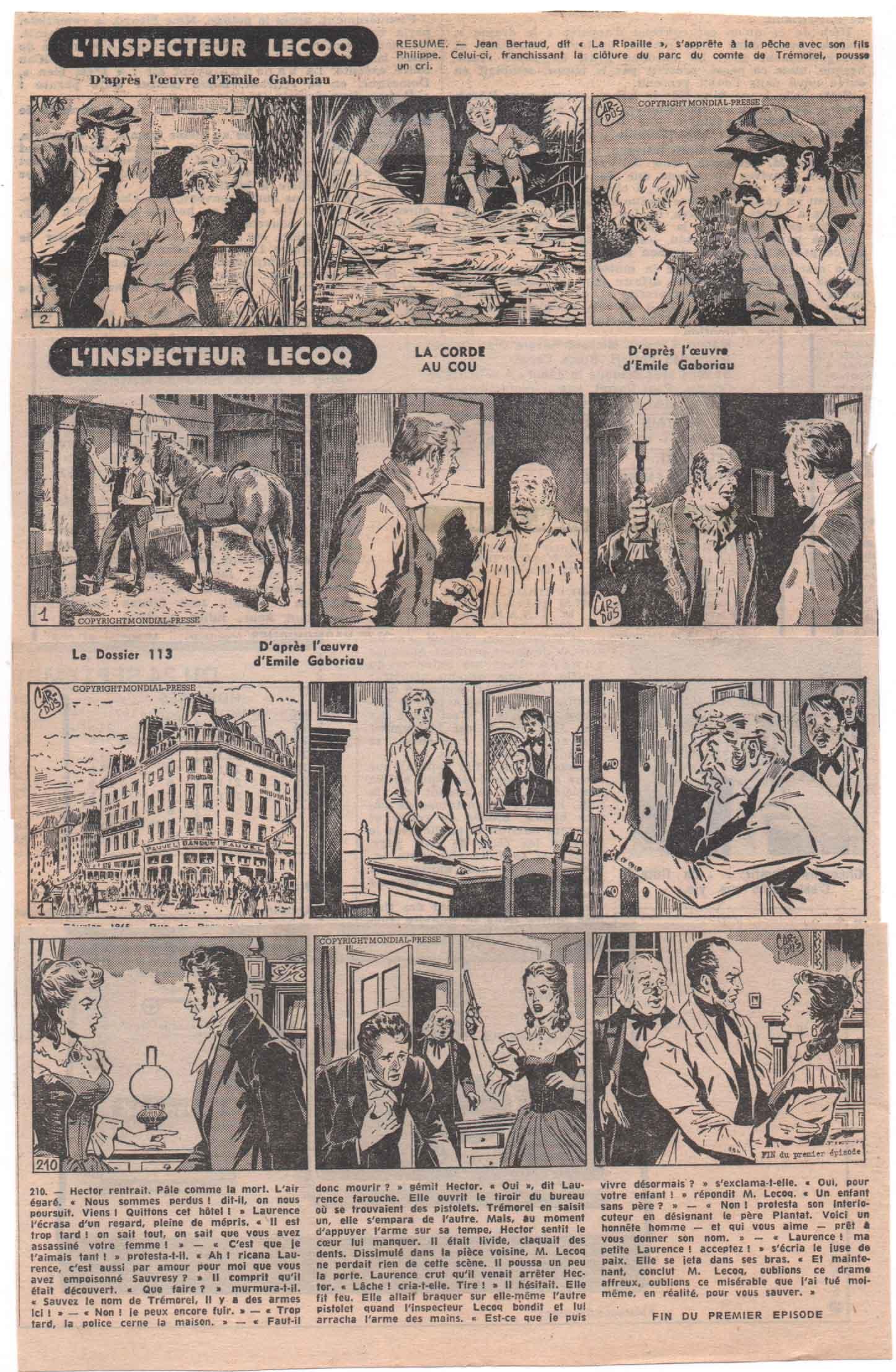 « Inspecteur Lecoq » par Cardus Mondial presse (1968-1972).