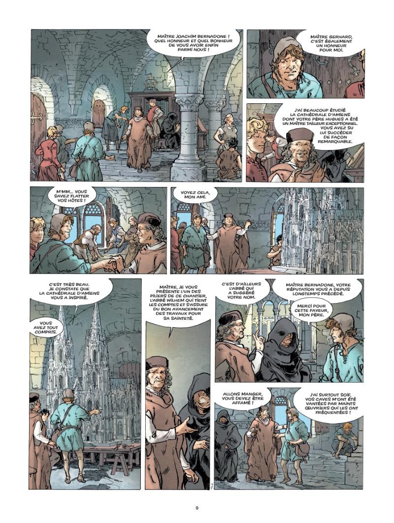 Un pilier pour la cathédrale. Extrait de « T2 : Les Bâtisseurs » (planche 7 - Glénat 2020).