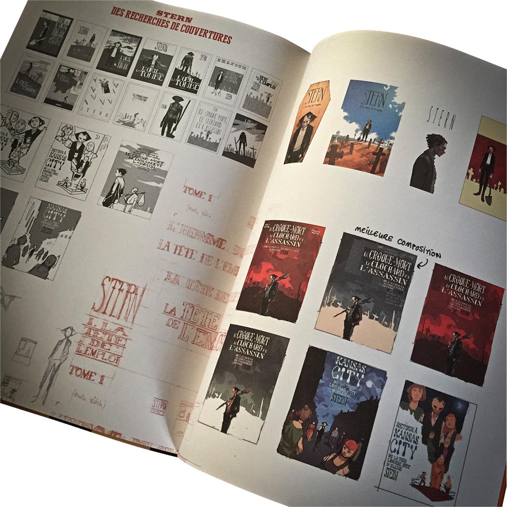 Recherches de couvertures pour le T1 (visuel et extraits : éditions Black & White, 2016).
