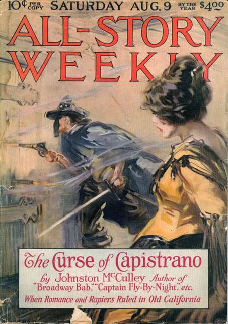 """Première édition du roman-feuilleton """"Le Fléau de Capistrano"""" ( couverture d'All-Story Weekly, 1919)."""