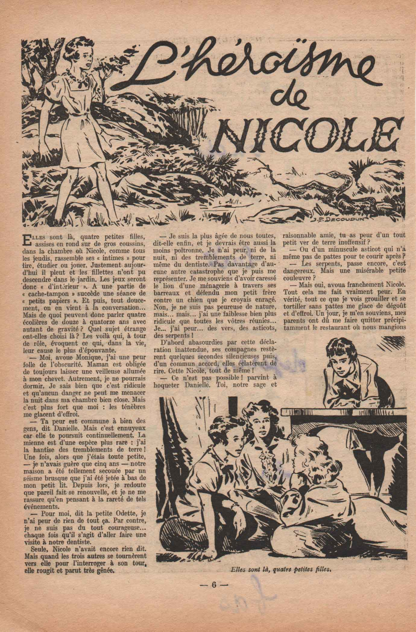 « L'Héroïsme de Nicole » Fillette vacances (06/1952).