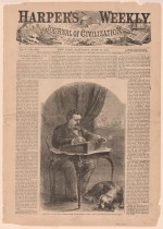 William Howard Russel, évoqué dans une page du journal Harper's Weekly en 1861.