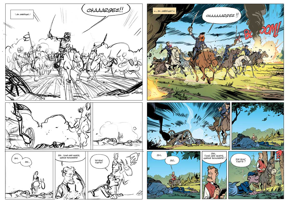 Storyboards et planches finalisées par Munuera.