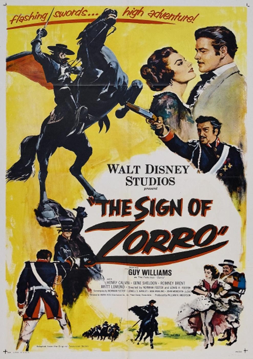 """Affiche US pour """"Le Signe de Zorro"""", un film de Lewis et Norman Foster compilant divers extraits des treize premiers épisodes de la série """"Zorro """" (Studios Disney, 1958)."""