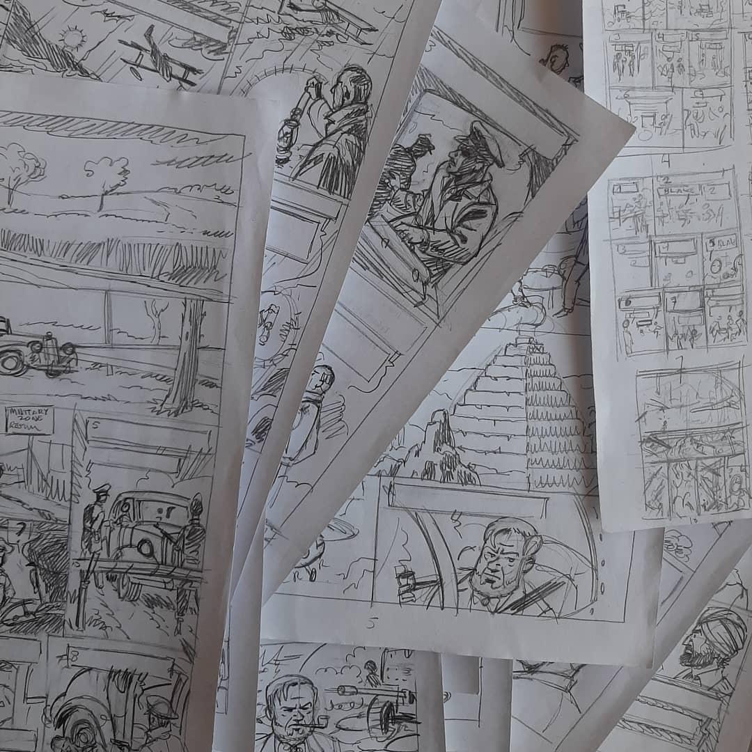 Recherches et crayonnés de Teun Berserik et Peter Van Dongen pour « Le Dernier Espadon ».