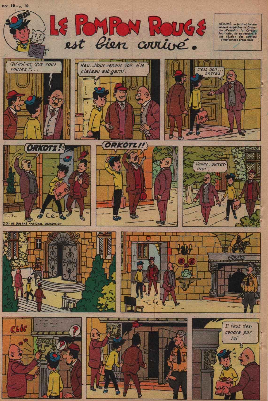 «Jordi: Le Pompon rouge est bien arrivé» Cœurs vaillants n°10 (06/03/1960)