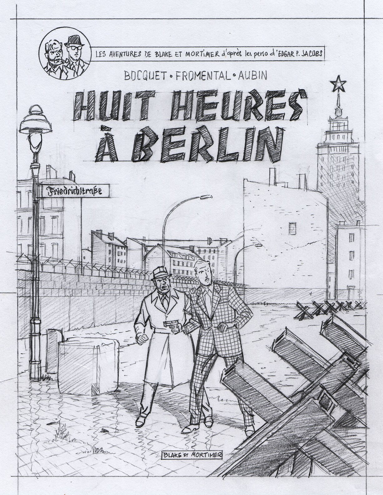 Recherche de couverture et crayonné d'Antoine Aubin pour « Huit heures à Berlin ».