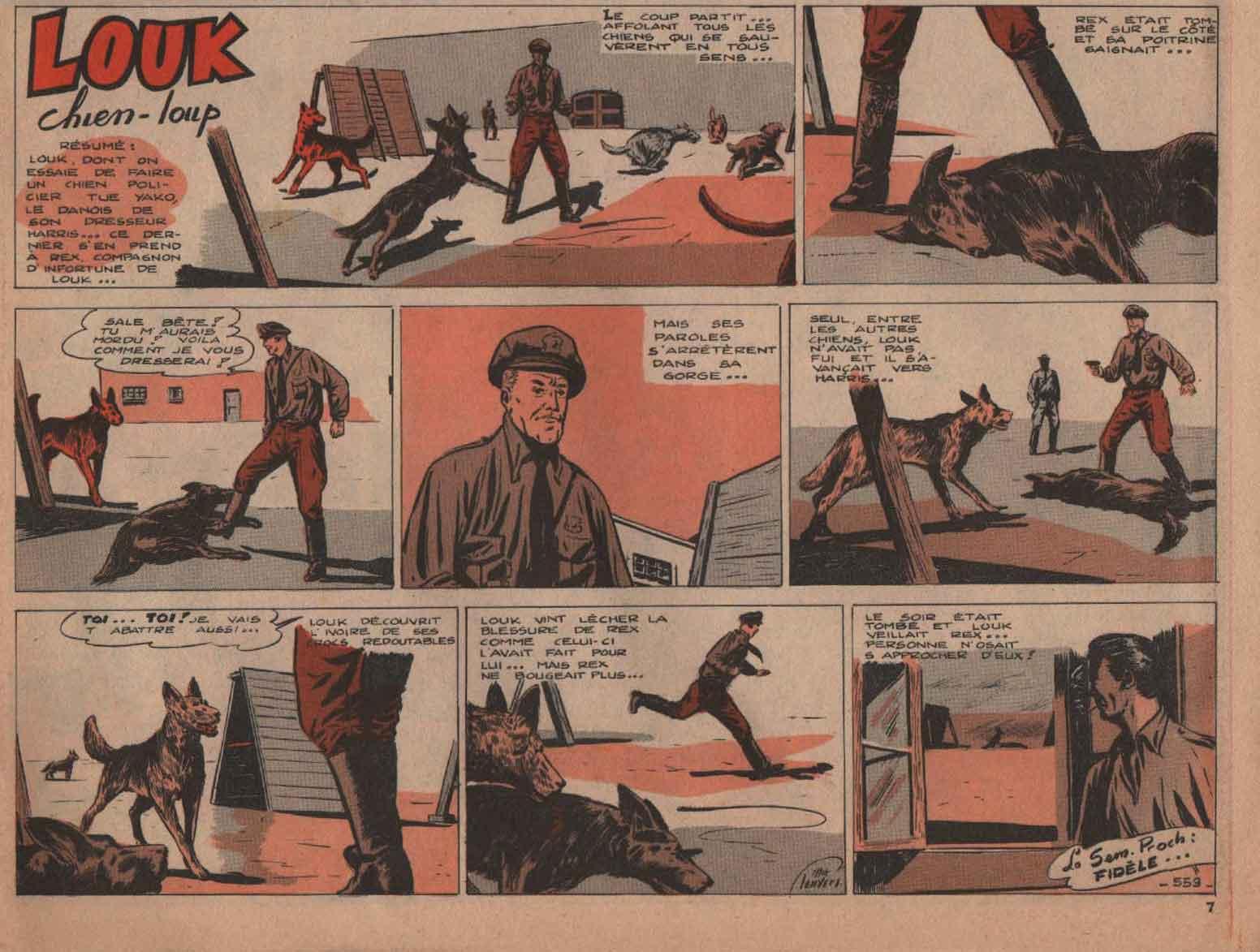 «Louk chien loup»: Vaillant n° 610 (01/956).