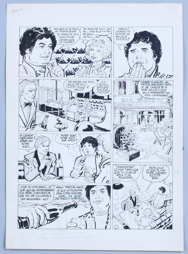 Planche originale de la vini-chronique « Drôles de bulles » (1982).