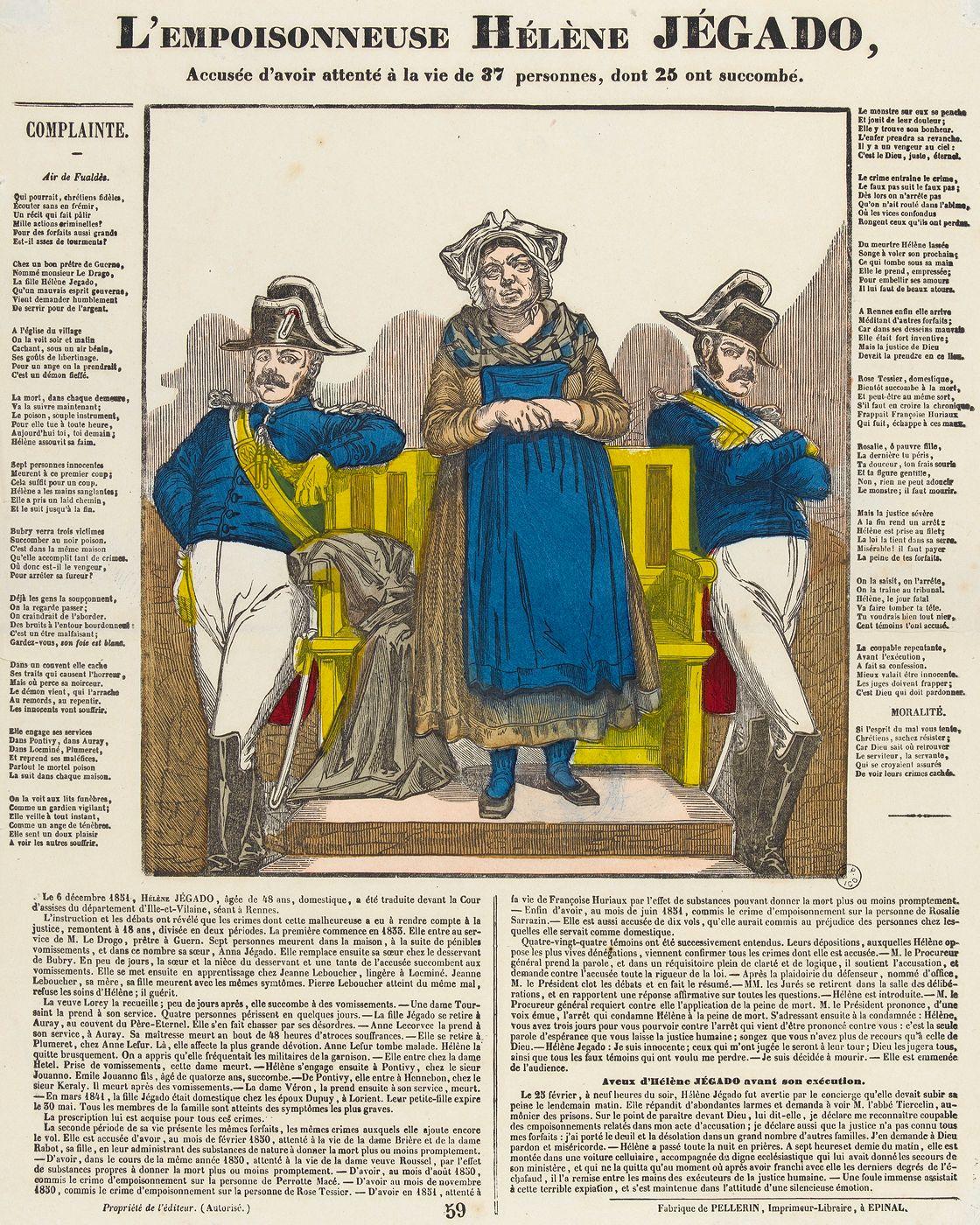 Le procès d'une empoisonneuse. Estampe imprimée par Jean-Charles Pellerin (1756-1836) en 1852.