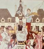 Détail de la dernière carte de voeux adressée à Hergé  par Jacques Langlois, en 1982 (d'après « L'Apothéose » d'Homère.