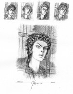 Etudes pour le visage de Lemuria (Theo et Dargaud, 2020).