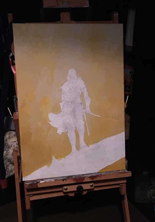 Détails du travail sur la couverture : une grande acrylique réalisée sur bois par l'auteur (photos B. Dellac - 2020-2021).