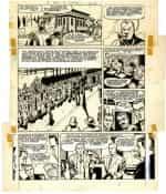 Planche originale d'une « Belle Histoire de l'Oncle Paul » dessinée par Jean Graton et scénarisée par Jean-Michel Charlier : « Le Héros de Budapest », publiée dans le n° 716 de Spirou du 3 janvier 195.
