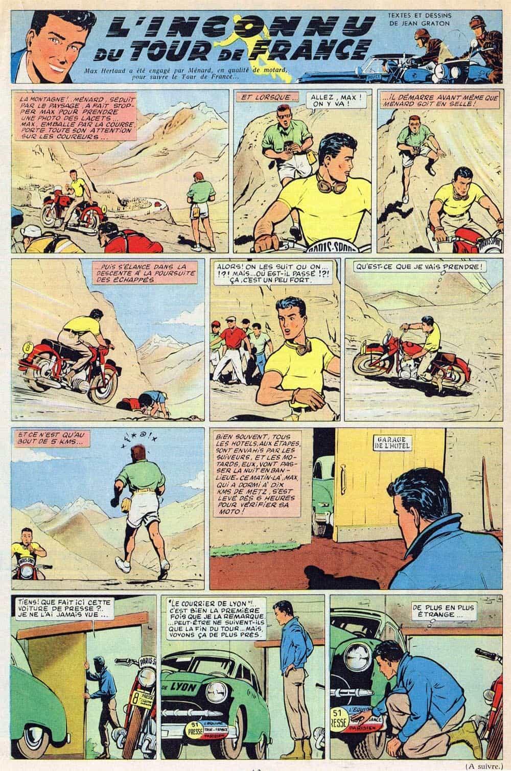 « L'Inconnu du tour de France » dans Tintin, en 1956.