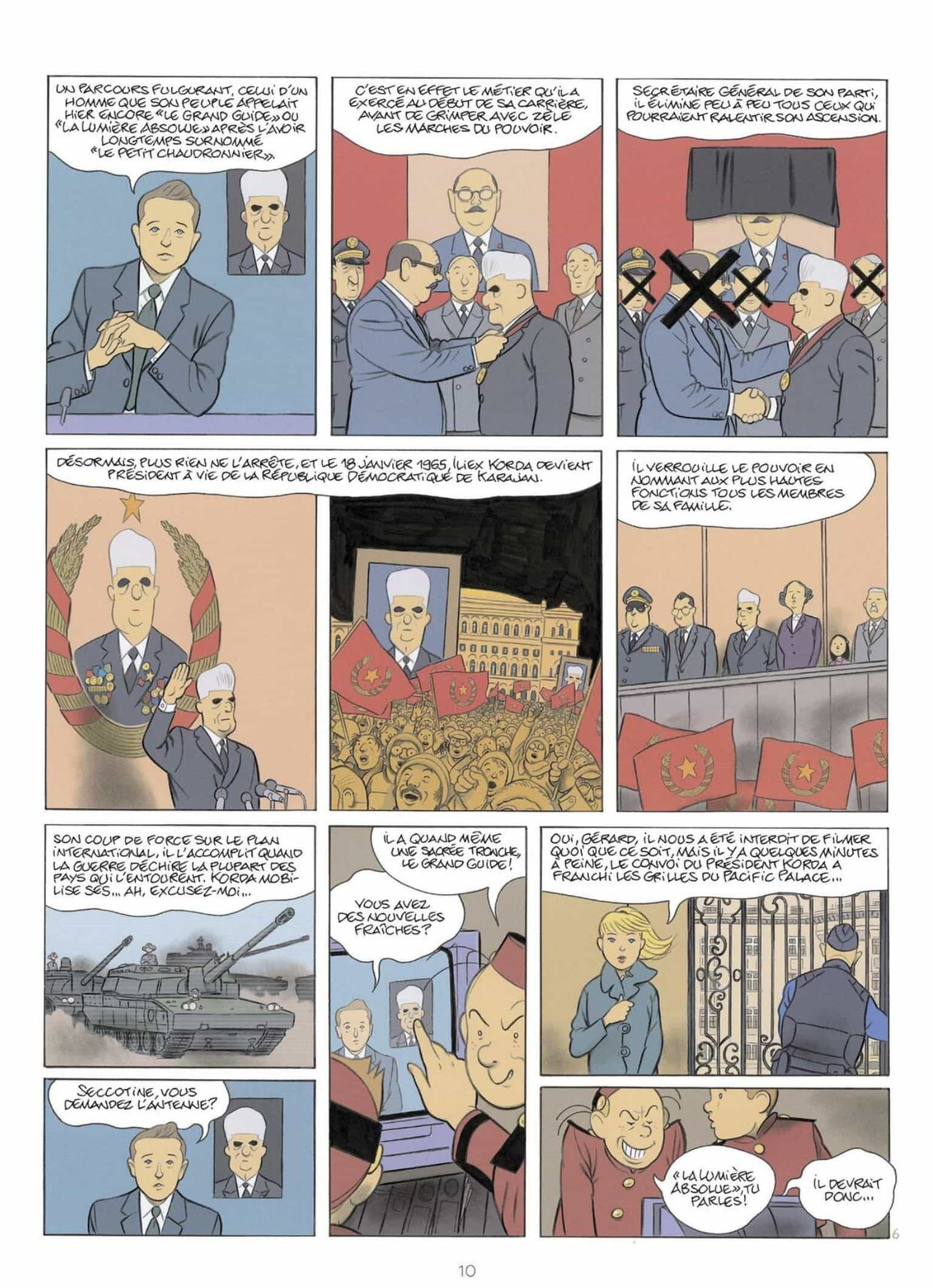 Le parcours d'un despote (planche 6 - Dupuis 2021).