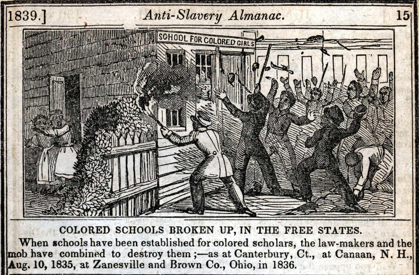 Une école de jeunes filles noires ravagée par une foule blanche en 1834 (illustration parue dans un almanach anti-esclavagiste à New York en 1839).