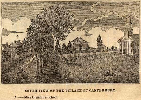 Gravure de 1833 représentant l'école Crandall à Canterbury.