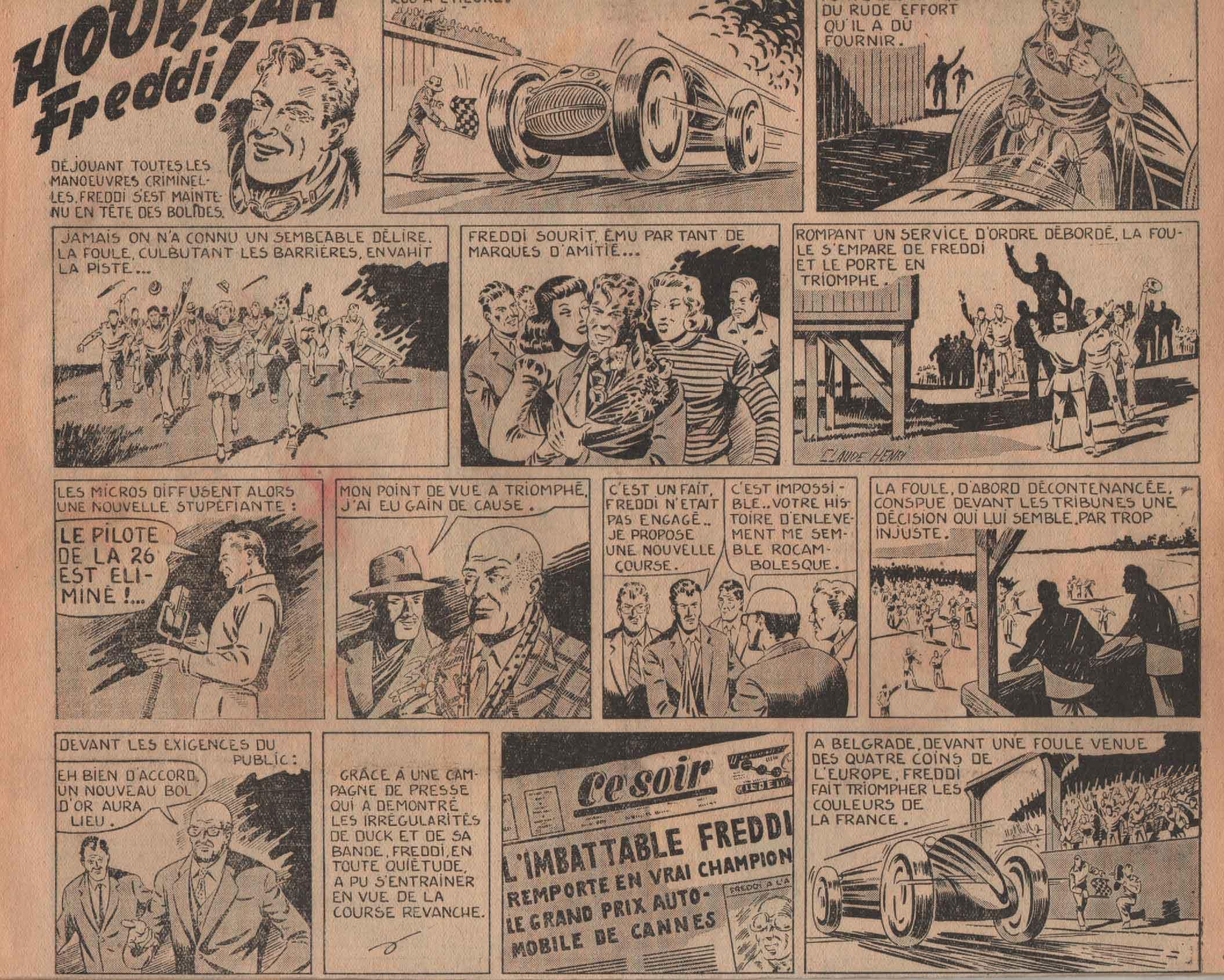 « Hurrah Freddi ! »  Vaillant n° 191 (10/01/1949).