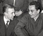 Georges Rieu et Roger Lécureux : extrait d'une photo de groupe, 1958.