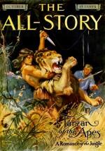 Couverture pour « Tarzan of the Apes »  par Edgar Rice Burroughs, histoire complète parue dans The All-Story Magazine (octobre 1912).