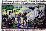 La mort de Roland à Roncevaux, représentée sur un parchemin enluminé par David Aubert (1462), dans les « Chroniques des empereurs ».