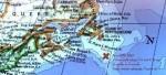Le lieu du naufrage du Titanic et la position du port de Halifax.