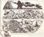 Extrait de « Le Lion et le rat » : sept pages quasi muettes publiées dans le n° 1 du collectif « Le 9ème Rêve » édité par Louis Musin en janvier 1978. Il s'agit du premier travail publié de Benoît Sokal.