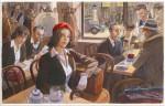 « Près de la gare » : illustration originale réalisée en 2021 (encres acryliques et aquarelle sur papier ;  70,2 x 49,5 cm).