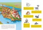 Les traditionnelles pages de présentation des décors et des personnages, revisités à la sauce canine ! Une première version a été réalisée par Fabrice Tarrin, avant la mise en dessin définitive, réalisée par Jean Bastide (Albert René, 2021).