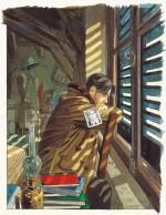 L'attente... (dessin original pour la couverture du 1er tome de « Le Sursis » ; encres acryliques et aquarelle sur papier ;  22,9 × 30 cm ; 1997).