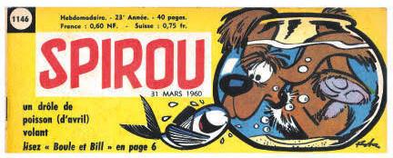 Annonce de l'arrivée officielle de la série « Boule et Bill » dans Spirou, en Une du n° 1146..