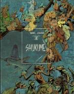 « Shukumeï » version Bédéscope/Glénat en mars 1987 : couverture et première planche redessinée.