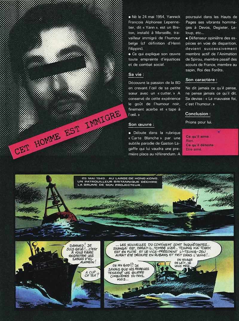 Premières pages d'« Aventure en jaune » dans Spirou en avril 1982.