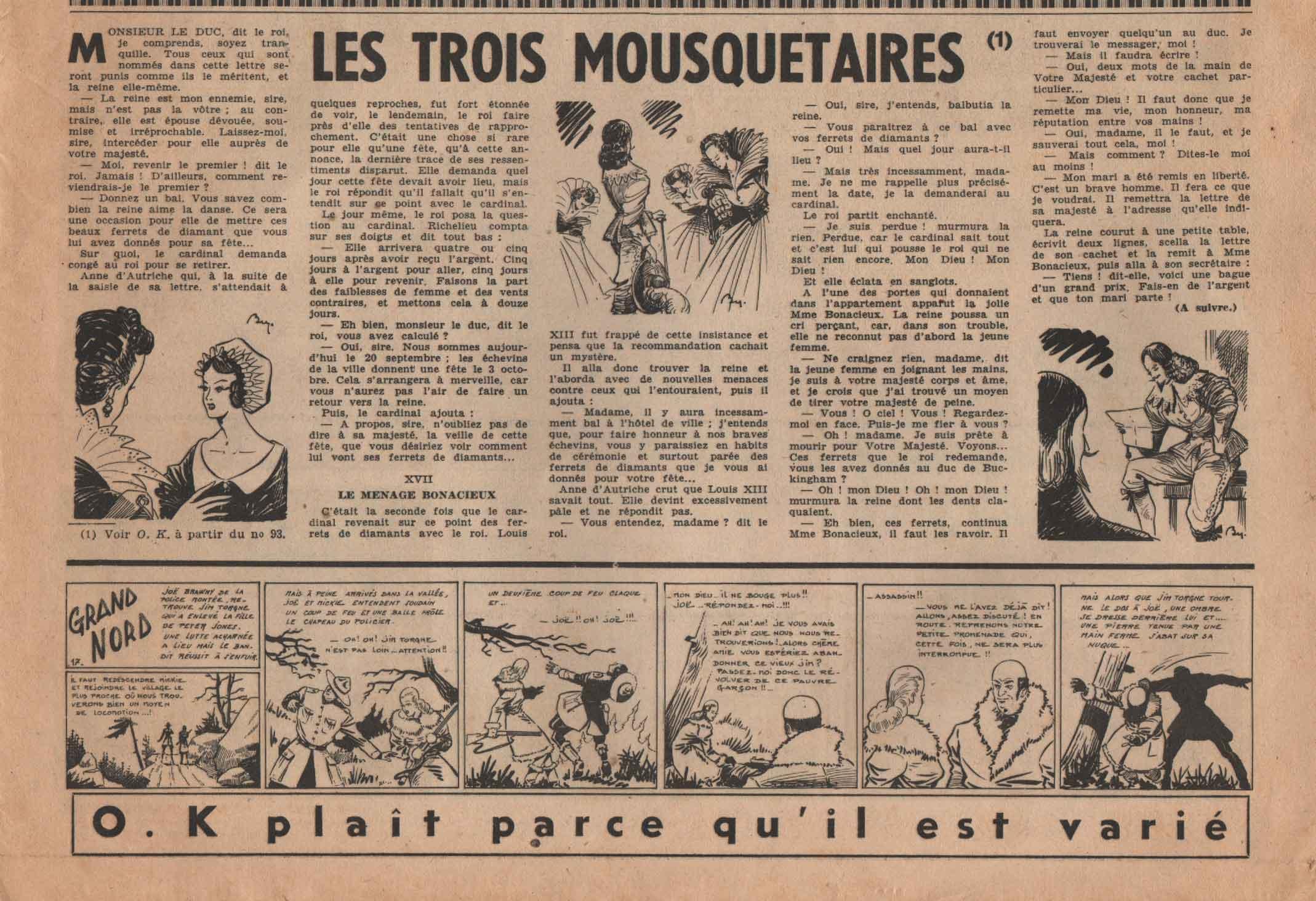 « Grand Nord » et « Les 3 Mousquetaires » O.K n° 139 (03/03/1949).