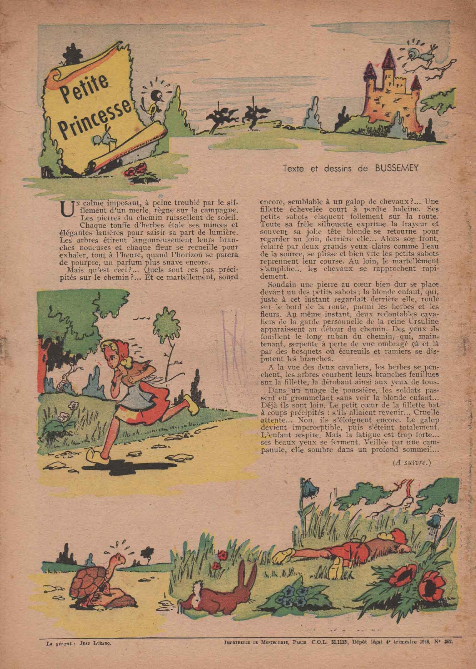 « Petite Princesse » Lisette n° 20 (06/10/1946).