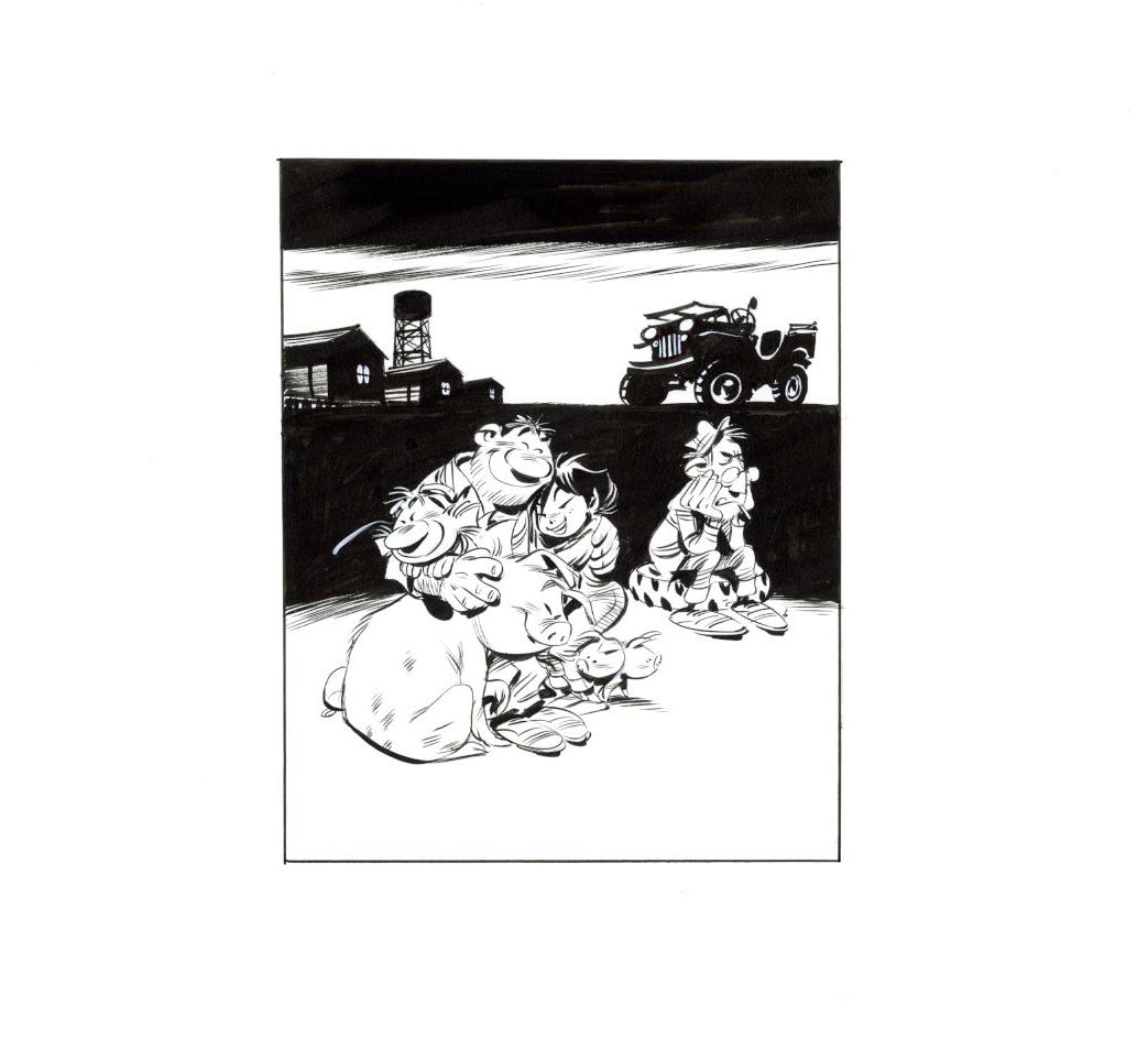 Dessin original pour la page de titre de « Cloaques », version Dargaud (1996-1997).