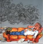 Dessin de François Walthéry pour  « Le Livre d'or de Raoul Cauvin » de Kris De Saeger, chez Arboris (1995).