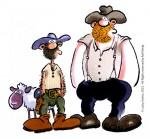 Un mouton, Terrence et Bud.