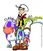 Lucky Luke et Jolly Jumper en compagnie d'une vache suisse.